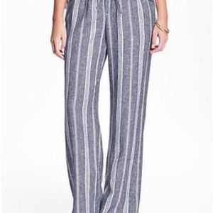 Blue and white striped linen wide leg pants
